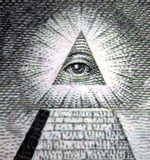 چشم جهان بین در بالای هرم که می درخشد